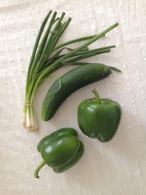 scallion cucumber and green peppers
